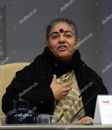 Vandana Shiva Indian Environmental Activist and Anti-globalization Author and Author During His Speach at the Convention 'Women and Nutrition: Ideas For a Sostainable Future' at the Fao Headquarters in Rome 14 Movember 2013 This is an Occasion to Look Into the Issue of Food Safety and Nutrition Focusing on Women's Role Italy Rome