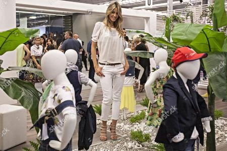 Italian Actress Elena Santarelli Poses at the Stand of Exhibitor Cesare Paciotti During the Pitti Immagine Bimbo Fashion Fair in Florence Italy 26 June 2014 the Children's Fashion Event Runs From 26 to 28 June 2014 Italy Florence