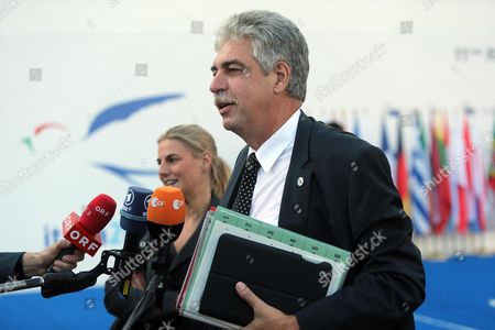 Austrian Finance Minister Hans Jorg Schelling Arrives at Centro Congressi Mico in Milan 12 September 2014 to Participate in the European Financial Ministries Meeting Italy Milan