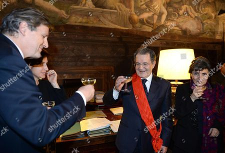 French Ambassador to Italy Alain Le Roy (l) Confers Romano Prodi (r) the Grand Cross of the Order of the Legion of Honour in Rome Italy 13 February 2014 Italy Rome