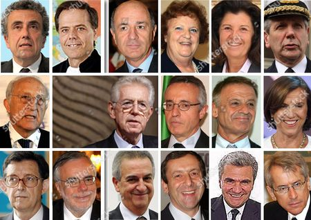 A Combo Picture of Italian Prime Minister Mario Monti and His Team of Newly Appointed Cabinet Ministers; (1st Row L-r) Fabrizio Barca Minister of Territorial Cohesion European Affairs Enzo Moavero Milanesi Development-infrastructure Minister Corrado Passera Interior Minister Anna Maria Cancellieri Justice Minister Paola Severino and Minister of Defence Giampaolo Di Paola (2nd Row L-r) Tourism and Sport Minister Piero Gnudi Italian Prime Minister Mario Monti Agriculture Minister Mario Catania Environment Minister Corrado Clini and Welfare Minister Elsa Fornero (3rd Row L-r) Relations with Parliament Minister Piero Giarda Internal and International Cooperation Minister Andrea Riccardi Cultural Heritage Minister Lorenzo Ornaghi Education Minister Francesco Profumo Health Minister Renato Balduzzi and Foreign Minister Giulioterzi Di Sant'agata Reports State That Prime Minister Mario Monti was Sworn in on 16 November 2011 to Lead Italys 63rd Government Since the End of World War Ii Italy -