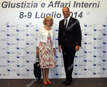 Italian Interior Minister Angelino Alfano (r) and Finnish Interior Minister Paivi Rasanen During the Informal Meeting of Interior and Justice Ministers of the European Union in Milan Italy 08 July 2014 the Meeting is Held on the Occasion of the Six Months Italian Presidency of the Council of the European Union Italy Milan