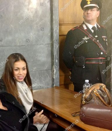 A Photo Made Available 17 January 2013 Shows Moroccan-born Karima El-mahroug (l) Also Known As Ruby Rubacuori (ruby Heart Stealer) Inside the Courtroom Prior to Her Testimony As Defense Witness in the Trial of Former Italian Prime Minister Silvio Berlusconi in Milan Italy 14 January 2013 20-year-old Ruby Had Been Fined After Twice Failing to Appear in Court in December and Vacationing with Her Boyfriend Instead Berlusconi is Accused of Having Had Sex with Her when She was 17 During Socalled 'Bunga Bunga' Parties at His Villa Outside Milan and Pressuring Police to Release Her After She Had Been Held on Suspicion of Theft Both Deny Having Had a Sexual Relationship Italy Milan