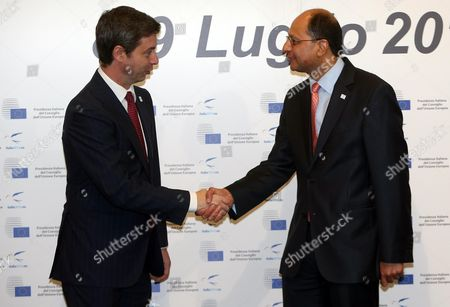 Italian Justice Minister Andrea Orlando (l) Shakes Hands with British Deputy Justice Minister Shailesh Vara During the Informal Meeting of Interior and Justice Ministers of the European Union in Milan Italy 09 July 2014 the Two-day Meeting is Held on the Occasion of the Six Months Italian Presidency of the Council of the European Union Italy Milan