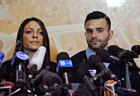 Stock Picture of Meredith Kercher's Sister Stephanie Kercher (l) and Brother Lyle Kercher Speak During a Press Conference in Florence Italy 31 January 2014 Us Student Amanda Knox and Her Former Italian Boyfriend Raffaele Sollecito Were Found Guilty of the 2007 Murder of Briton Meredith Kercher an Italian Court Ruled 30 January 2014 Francesco Maresca a Lawyer For the Kercher Family Said Exhausting a New Round of Appeals by Knox and Sollecito Before the Cassation - Presumably the Final Stage in the Legal Saga - Would Take About a Year Italy Florence