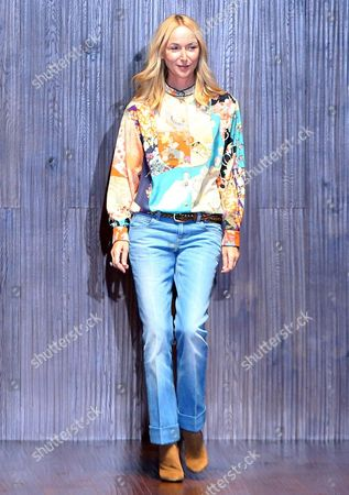 Italian Fashion Designer Frida Giannini Takes the Catwalk at the End the Presentation For the Spring/summer 2015 Collection of Italian Label Gucci During the Milan Fashion Week in Milan Italy 17 September 2014 the Milano Moda Donna Runs From 17 to 22 September Italy Milan