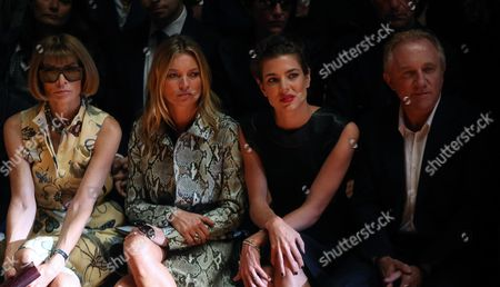 From (l-r) Editor-in-chief of Us Vogue Anna Wintour British Model Kate Moss Charlotte Casiraghi Daughter of Princess Caroline of Hanover and French Francois-henri Pinaul Attend the Presentation of the Spring/summer 2015 Collection of Italian Label Gucci by Italian Designer Frida Giannini During the Milan Fashion Week in Milan Italy 17 September 2014 the Milano Moda Donna Runs From 17 to 22 September Italy Milan