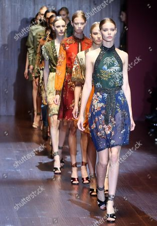 Models Present Creations by Italian Designer Frida Giannini From the Spring/summer 2015 Collection of Italian Label Gucci During the Milan Fashion Week in Milan Italy 17 September 2014 the Milano Moda Donna Runs From 17 to 22 September Italy Milan
