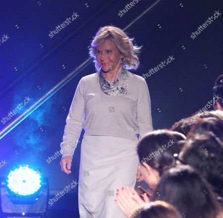 Italian Designer Anna Molinari Greets the Audience From the Catwalk After Presenting Her Spring/summer 2015 Women's Collection of Italian Fashion House Blugirl During the Milan Fashion Week in Milan Italy 18 September 2014 the Milano Moda Donna Runs From 17 to 22 September Italy Milan