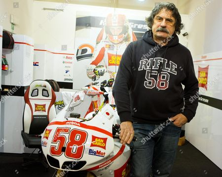 Paolo Simoncelli the Father of Marco Simoncelli Italian Rider Marco Simoncelli who Died in a Crash in October 2011 During the Malaysian Grand Prix at Sepang International Circuit During the Opening of Marco Simoncellis Gallery 'The Sic History' in Coriano (near Rimini) in Italy) 08 December 2012 Italy Coriano (rimini)