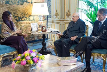 Stock Picture of The Italian Republic President Giorgio Napolitano During His Meeting with Hina Rabbani Khar Foreign Minister of the Islamic Republic of Pakistan Rome 1 February 2013 Right on the Picture the Italian Foreign Minister Giulio Terzi Italy Rome