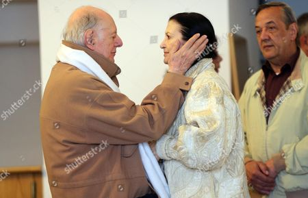 Nobel Prize Laureate Dario Fo (l) Receives Condolences From Italian Dancer Carla Fracci (c) at Mortuary Piccolo Teather in Milan Italy 30 May 2013 Italian Actress Franca Rame and Wife of Nobel Laureate Dario Fo Died Aged 84 After a Long Illnes on 29 May 2013 Italy Milan