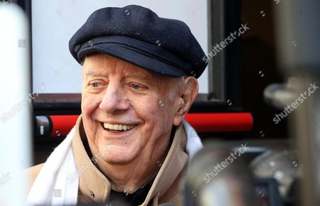 Nobel Prize Laureate Dario Fo Smiles to the Media As He Receives Condolences at Mortuary Piccolo Teather in Milan Italy 30 May 2013 Italian Actress Franca Rame and Wife of Nobel Laureate Dario Fo Died Aged 84 After a Long Illnes on 29 May 2013 Italy Milan