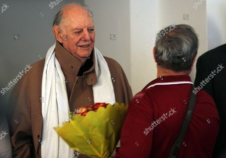 Nobel Prize Laureate Dario Fo (l) Receives Condolences From Milan Citizens at Mortuary Piccolo Teather in Milan Italy 30 May 2013 Italian Actress Franca Rame and Wife of Nobel Laureate Dario Fo Died Aged 84 After a Long Illnes on 29 May 2013 Italy Milan