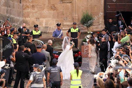 Italian Actress Elisabetta Canalis Arrives For Her Wedding with Brian Perri in Alghero Sardinia Italy 14 September 2014 Italy Alghero