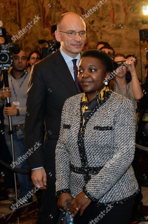 Italian Prime Minister Enrico Letta (l) Stand Together with Italian Minister of Integration Cecile Kyenge (r) During the Presentation of the 'Women For Expo' Project at the Villa Madama in Rome 13 November 2013 'Women For Expo' According to Media Reports is a Project Created Within the Preparations of the Expo Milano 2015 That Shall Offer a Global Platform and Network of Women to Act Together in the Field of Nutrition and Food Sustainability Italy Rome