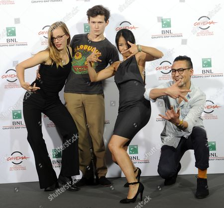 (l-r) Actors Saskia Rosendahl Joel Basman Trang Le Hong and German Director Burhan Qurbani Pose During the Photocall For the Movie 'Wir Sind Jung Wir Sind Stark' (lit: We Are Young We Are Strong)' at the 9th Annual Rome Film Festival in Rome Italy 16 October 2014 the Festival Runs From 16 to 25 October Italy Rome