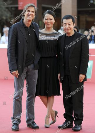 Brazilian Director Walter Salles (l) Chinese Actress Zhao Tao (c) and Chinese Director Jia Zhangke (r) Arrive For the Premiere of 'A Guy From Fenyang' at the 9th Annual Rome Film Festival in Rome Italy 20 October 2014 the Festival Runs From 16 to 25 October Italy Rome