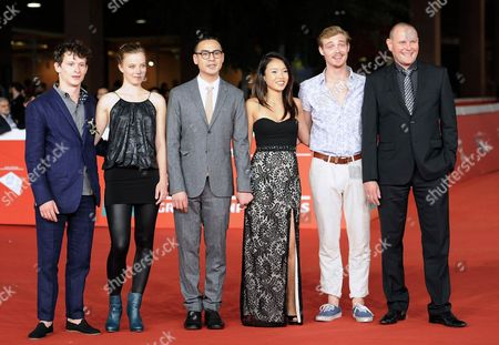 (l-r) Actors Joel Basman and Saskia Rosendahl German Director Burhan Qurbani and Actors Trang Le Hong David Schutte and Devid Striesow Arrive For the Premiere of 'Wir Sind Jung Wir Sind Stark (lit : We Are Young We Are Strong)' at the 9th Annual Rome Film Festival in Rome Italy 16 October 2014 the Festival Runs From 16 to 25 October Italy Rome