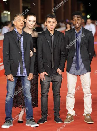 Stock Image of (l-r) Actors Gabriel Weinstein Rooney Mara Rickson Tevez and Eduardo Luis Arrive For the Premiere of 'Trash' at the 9th Annual Rome Film Festival in Rome Italy 18 October 2014 the Festival Runs From 16 to 25 October Italy Rome