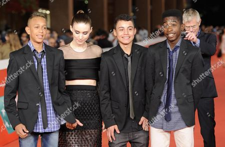 Stock Photo of (l-r) Actors Gabriel Weinstein Rooney Mara Rickson Tevez Eduardo Luis and British Director Stephen Daldry Arrive For the Premiere of 'Trash' at the 9th Annual Rome Film Festival in Rome Italy 18 October 2014 the Festival Runs From 16 to 25 October Italy Rome