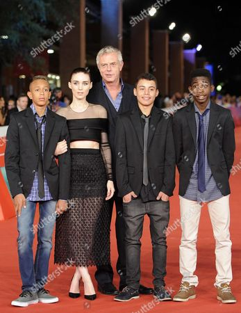 (l-r) Actors Gabriel Weinstein Rooney Mara British Director Stephen Daldry Rickson Tevez and Eduardo Luis Arrive For the Premiere of 'Trash' at the 9th Annual Rome Film Festival in Rome Italy 18 October 2014 the Festival Runs From 16 to 25 October Italy Rome
