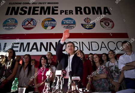 Outgoing Rome's Mayor Gianni Alemanno During the Press Conference in Rome Italy 10 June 2013 Democratic Party (pd) Candidate Ignazio Marino Won by 63 9 Per Cent Against 36 1 Per Cent For Incumbent Gianni Alemanno of the the People of Freedom (pdl) Party Italy Rome