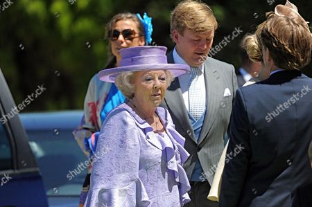 Dutch Queen Beatrix (front) and His Son Prince Willem-alexander (2-r) Arrive For the Wedding of Princess Carolina of Bourbon-parma the Youngest Daughter of Beatrixs Sister Princess Irene in Florence Italy 16 June 2012 the Wedding Ceremony Will Take Place in the Church of San Miniato Al Monte Italy Florence