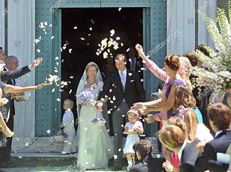 Dutch Princess Carolina (c_l) and Albert Brenninkmeijer (c-r) Leave San Miniato's Church After Their Wedding Ceremony in Florence Italy 16 June 2012 Italy Florence