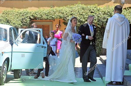 Dutch Princess Carolina (l) Arrives with Her Brother Carlos Duke of Parma (2-r) at San Miniato's Church For Her Wedding Ceremony in Florence Italy 16 June 2012 Dutch Princess Carolina is to Marry Albert Brenninkmeijer Italy Florence
