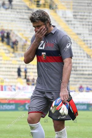 Goalkeeper of Genoa Sebastien Frey Expresses His Disappointment at the End of the Italian Serie a Soccer Match Bologna Vs Genoa at 'Renato Dall'ara' Stadium in Bologna Italy 29 April 2012 Italy Bologna