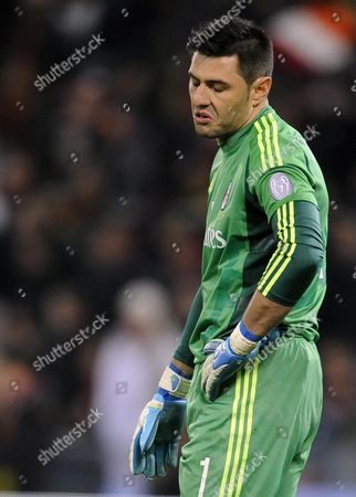Ac Milan Goalkeeper Marco Amelia Reacts During Italian Serie a Soccer Match Between As Roma and Ac Milan at the Olimpico Stadium in Rome Italy 22 December 2012 Italy Rome
