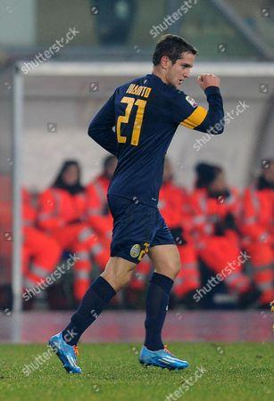 Verona's Juan Ignacio Gomez Taleb Celebrates After Scoring During the Italian Serie a Soccer Match Hellas Verona Fc Vs Atalanta Bc at Bentegodi Stadium in Verona Italy 08 December 2013 Italy Verona