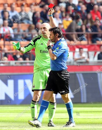 Ac Milan Goalkeeper Christian Abbiati Gets a Red Card After a Foul During the Italian Serie a Soocer Match Ac Milan Vs Parma Fc at the Giuseppe Meazza Stadium in Milan Italy 16 March 2014 Italy Milano