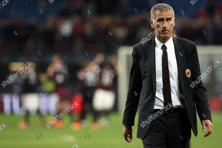 Milan's Assistant Coach Mauro Tassotti During the Italian Serie a Soccer Match Between Ac Milan and Fc Torino at Giuseppe Meazza Stadium in Milan Italy 24 May 2015 Italy Milan