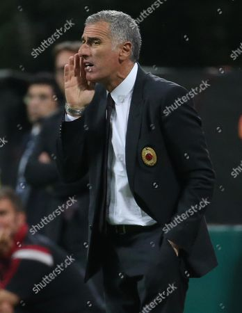 Stock Image of Milan's Assistant Coach Mauro Tassotti During the Italian Serie a Soccer Match Between Ac Milan and Fc Torino at Giuseppe Meazza Stadium in Milan Italy 24 May 2015 Italy Milan