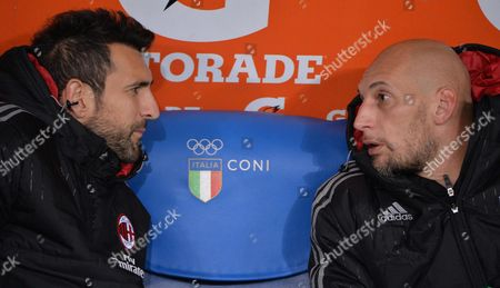 Ac Milan's Golkeepers Christian Abbiati (r) and Diego Lopez on the Bench Before Their Italian Serie a Soccer Match at the Olimpico Stadium in Rome Italy 01 November 2015 Italy Rome