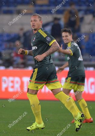 Stock Photo of Ac Milan's Philippe Mexes Celebrates After Scoring the 0-2 Gol During Italian Serie a Soccer Match Ss Lazio Vs Ac Milan at the Olimpico Stadium in Rome Italy 01 November 2015 Italy Rome