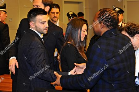 Lyle (l) and Stephanie Kercher with Patrick Lumumba (r) After the Judgment of the Court of Appeals For the Verdict of the Amanda Knox and Raffaele Sollecito Retrial Florence Italy 30 January 2014 an Italian Court in Florence on 30 January 2014 Convicts Us Student Amanda Knox of the 2007 Murder of Briton Meredith Kercher Overturning an Appeal Made in 2011 She Receives a 28-year Prison Sentence Her Former Boyfriend Italian Raffaele Sollecito Receives a 25-year Prison Sentence Italy Florence