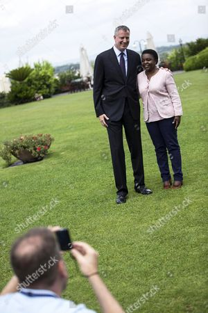 New York City Mayor Bill De Blasio (l) and Former Italian Integration Minister Cecile Kyenge (r) Smile During a Meeting in Rome Italy 21 July 2014 Blasio and His Family Are on a Private Trip to Italy on Which He and His Family Are Scheduled to Visit Grassano the Town where Blasio's Maternal Grandmother Anna Briganti Lived Before She Immigrated to the Us in the Early 1900s As Well As Sant'agata Dei Goti where the Mayor's Grandfather Giovanni De Blasio was Born Italy Rome