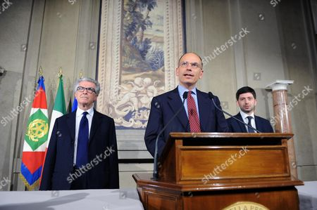 Enrico Letta (c) of Italian Centre-left Party 'Partito Democratico' (democratic Party) with Luigi Zanda (l) and Roberto Speranza at the End of the Meeting with Italian President Giorgio Napolitano at Quirinale Palace in Rome Italy 23 April 2013 the Italian President was Holding a Decisive Round of Talks with Political Leaders Before Deciding who to Name As Prime Minister in a Move Aimed at Ending Eight Weeks of Political Deadlock Italy Rome