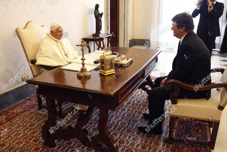 Pope Benedict Xvi (l) and Albania's President Bamir Topi Talk During a Private Audience at the Vatican 05 May 2012 Vatican Vatican City