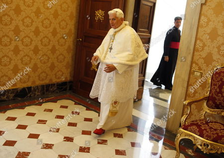 Pope Benedict Xvi Arrives For a Private Audience with Albanian President Bamir Topi at the Vatican 05 May 2012 Vatican Vatican City