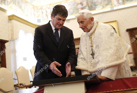 Pope Benedict Xvi (r) Receives a Gift From Albania's President Bamir Topi During a Private Audience at the Vatican 05 May 2012 Vatican Vatican City