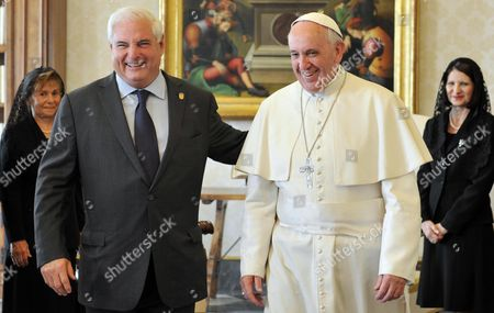 Pope Francis (c) Meets with President Ricardo Martinelli President of Panama and His Wife Marta Linares During a Private Audience on October 26 2013 at the Vatican Vatican City State (holy See) Vatican City