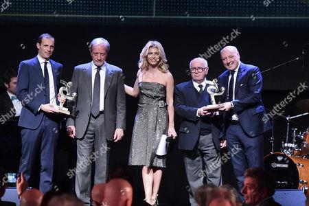Massimiliano Allegri, Renzo Ulivieri, Federica Fontana, Carlo Tavecchio and Beppe Marotta