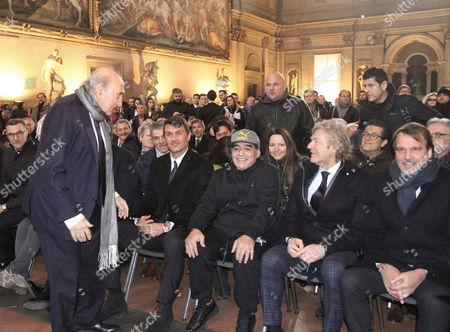 Corrado Ferlaino, Paolo Maldini, Diego Maradona, Giancarlo Antognoni and Marco Tardelli