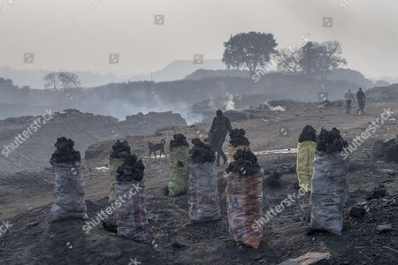 Bags of scavenged coal ready to be sold on a nearby market, Panday Bera, a village near Jharia coal field
