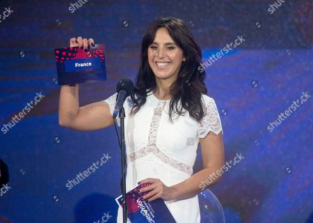 Ukrainian winner of the last year's Eurovision Song Contest, Jamala holds a lot during draw ceremony of this year's Eurovision 2017 song contest semifinals at the city hall in Kiev, Ukraine, . Kiev will host the Song Contest in May 2017