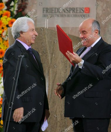 Jewish Historian Saul Friedlaender (l) Receives the Peace Prize of German Book Sellers 'Friedenspreis Des Deutschen Buchhandels' From Book Seller Association Chairman Gottfried Honnefelder (r) During a Ceremony in Frankfurt 14 October 2007 Friedlaender a Holocaust Survivor Received the Prestigious Prize For His Work About the Persecution of the Jews During the Nazi Regime Germany Frankfurt